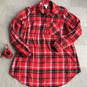 Isabel Maternity Red Plaid Soft Flannel Shirt S